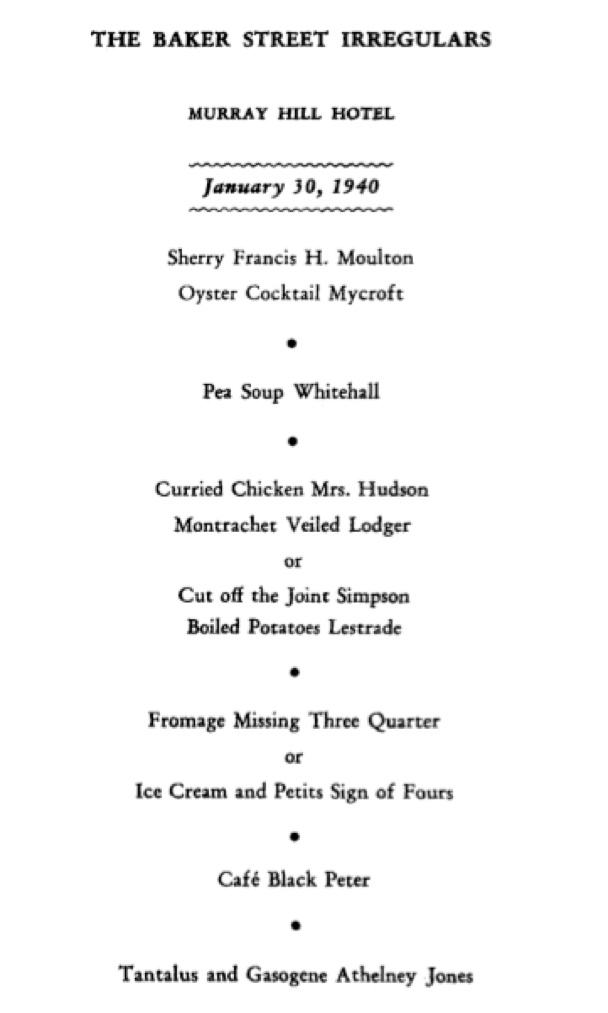 u201centertainment and fantasy u201d  the 1940 dinner published originally as the 1998 baker street